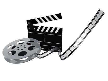 filmregisseur: leisteen boord en film reel geà ¯ soleerd op witte achtergrond Stockfoto