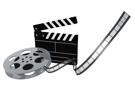 slate board and film reel isolated on white background Stock Photo