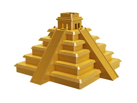 golden mayan pyramid isolated on white background photo