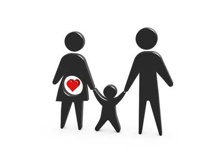 golden family symbol of pregnant mother father and kid on white background photo