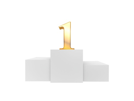 golden number 1 on podium top isolated on white background Stock Photo