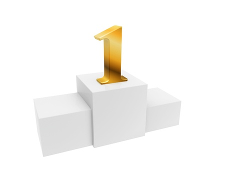 golden number 1 on podium top isolated on white background photo