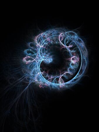 electromagnetic: blue Electromagnetic ring rays on dark background
