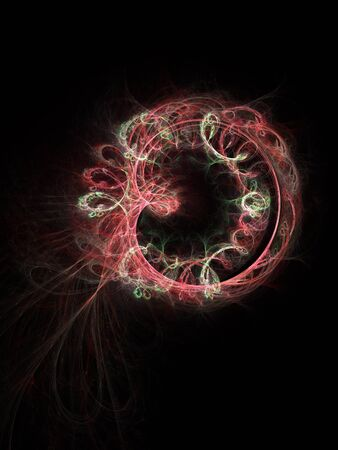 electromagnetic: red Electromagnetic ring rays on dark background