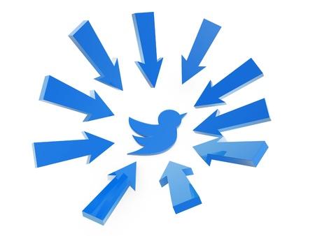 surround: follow arrow point to blue bird on white background Stock Photo