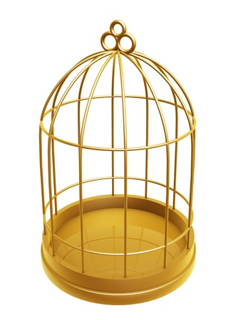 golden birdcage isolated on white background Imagens - 16714052