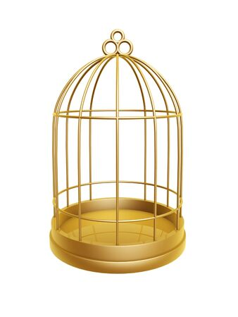golden birdcage isolated on white background Stock fotó