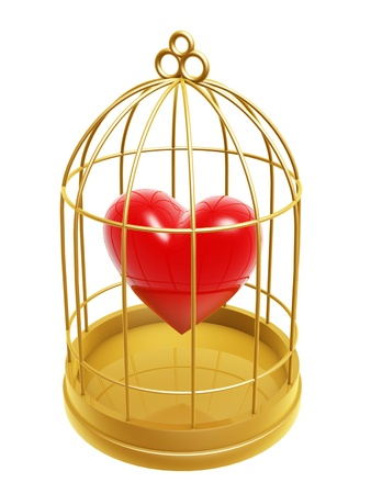 golden birdcage and heart isolated on white background Stock fotó
