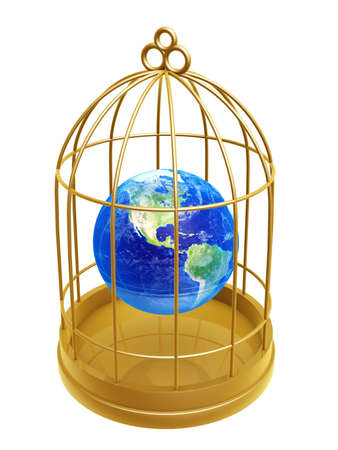 enslave: golden birdcage and earth isolated on white background