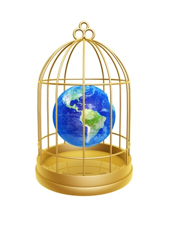 doomsday: golden birdcage and earth isolated on white background