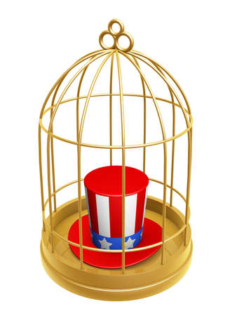 prison house: golden birdcage and hat of USA isolated on white background Stock Photo