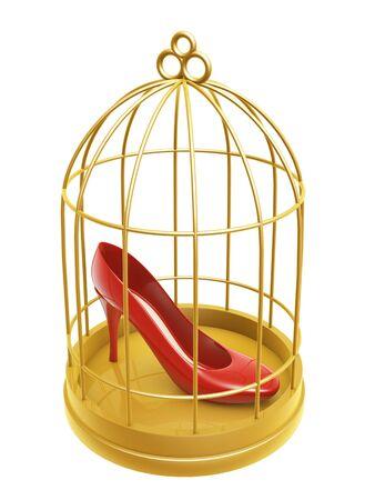 captivity: golden birdcage and shoe isolated on white background Stock Photo