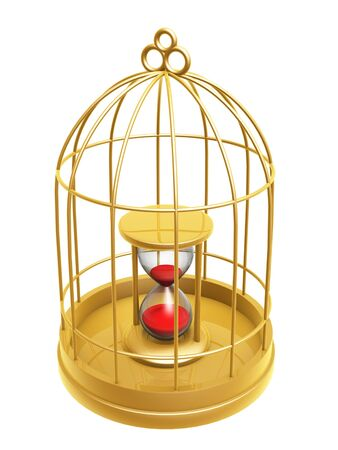 golden birdcage and hourglass isolated on white background Stock Photo - 16961259