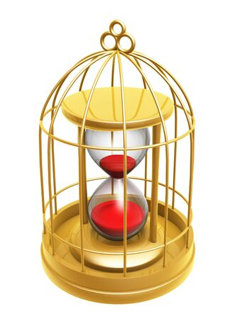 prison house: golden birdcage and hourglass isolated on white background Stock Photo