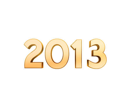 2013 new year golden symbol isolated on white background photo