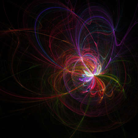 ray trace: colorful mysterious track rays on black space