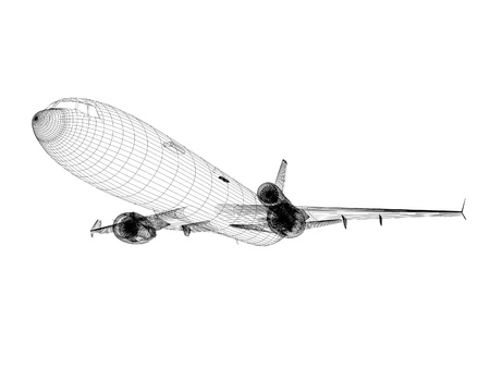 3d white Airliner blueprint isolated on white background