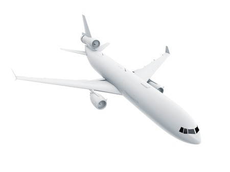 3d white Airliner model isolated on white background