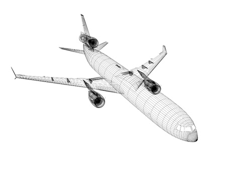 boeing: 3d white Airliner blueprint isolated on white background
