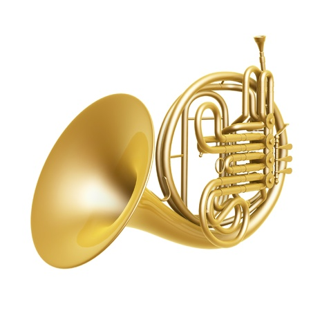 timbre: golden french horn isolated on white background
