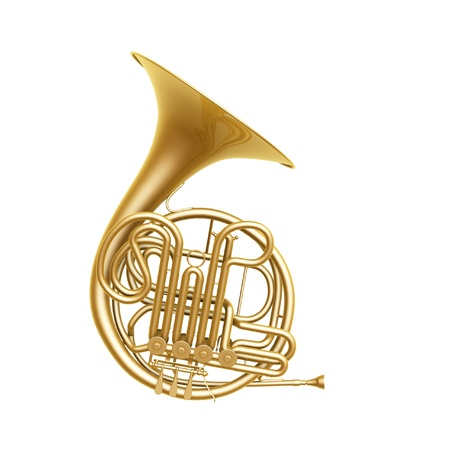 orquesta: cuerno franc�s de oro aisladas sobre fondo blanco Foto de archivo