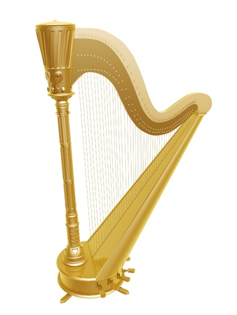 harp: golden ancient harp isolated on white background
