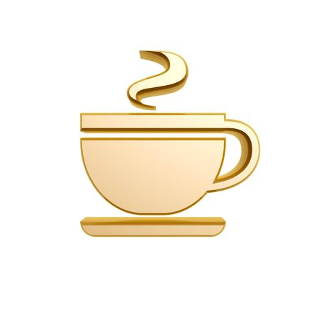 golden cup of tea symbol isolated on white background Stock Photo - 18550630