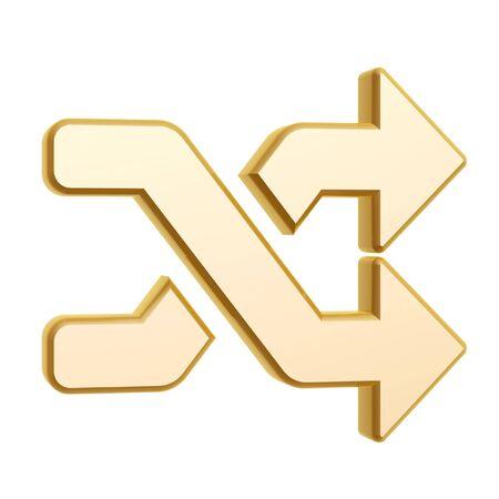 Gouden shuffle symbool op een witte achtergrond Stockfoto - 18550621