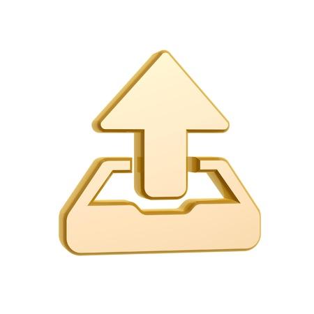 harddisk: golden upload symbol isolated on white background Stock Photo