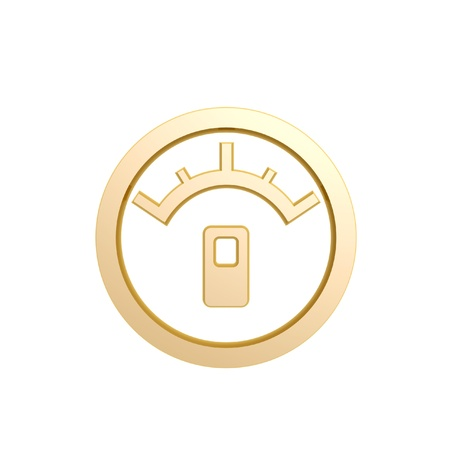 gas gauge: golden oil meter symbol isolated on white background Stock Photo