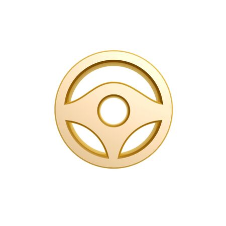car part: golden steering wheel symbol isolated on white background