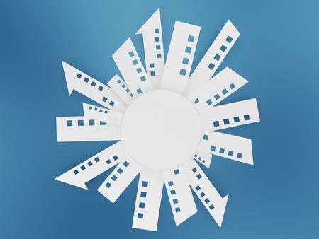 mapas conceptuales: blancas formas de construcción de papel sobre fondo azul