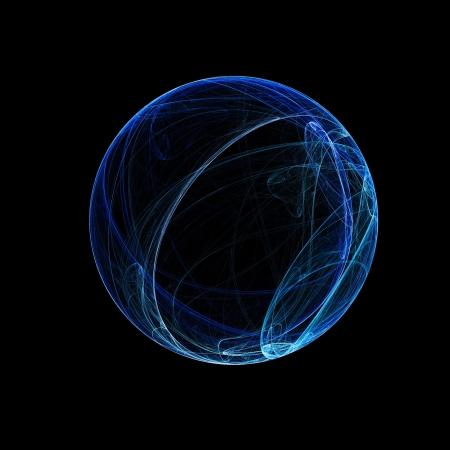 fantasy world: blue ring sphere on dark background Stock Photo