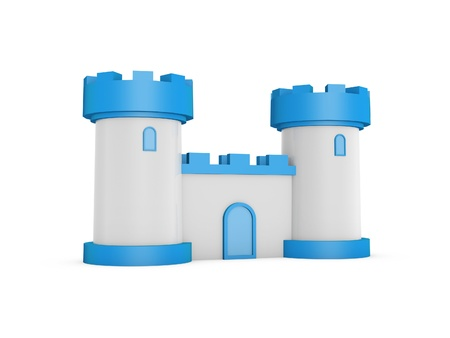 3d blue white fairy tale castle stand on white background photo