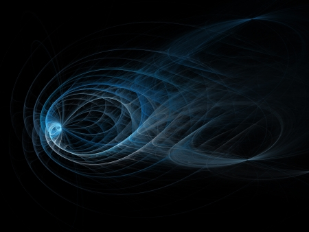 absract: blue water wave rays on dark background