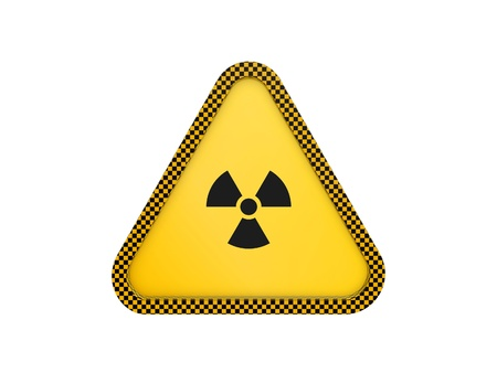 yellow warning triangle isolated on white background photo
