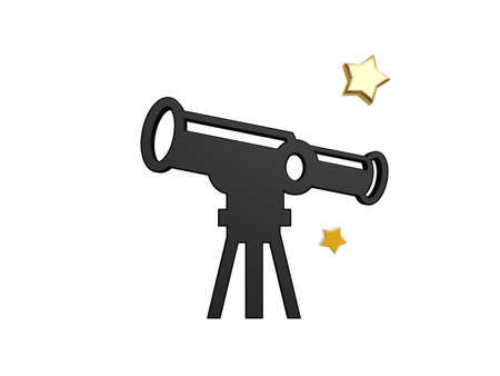 black astronomical telescope symbol isolated on white background