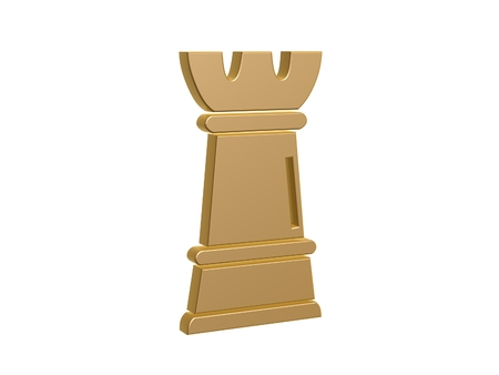 chess piece: gold rook chess symbol isolated on white background