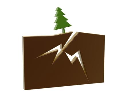 quake: earth quake symbol isolated on white background