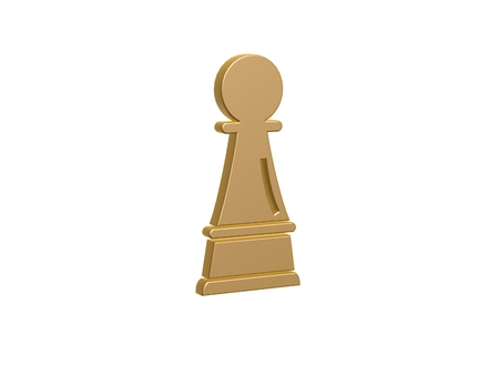 solider: gold pawn symbol isolated on white background