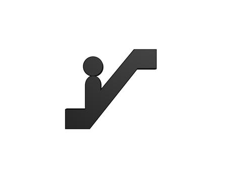 escalator up symbol isolated on white background