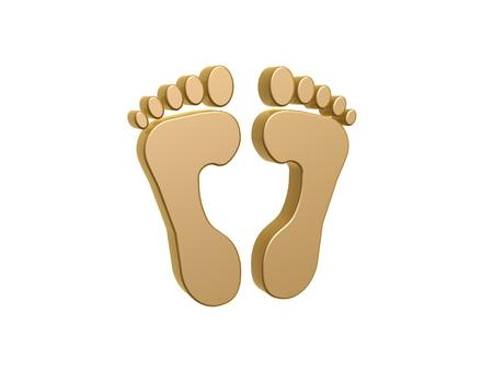 massage symbol: golden feet symbol isolated on white background