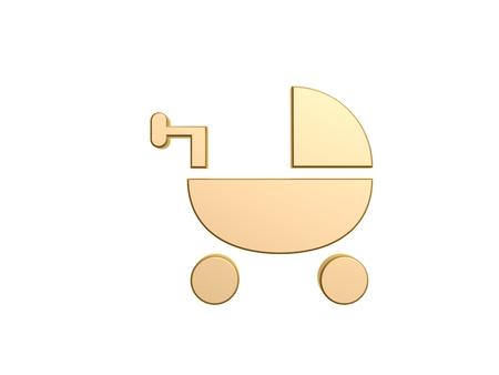 bassinet: golden baby bassinet symbol isolated on white background Stock Photo