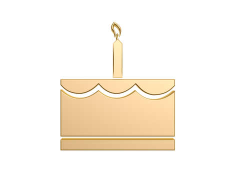 golden cake with candle symbol isolated on white background photo