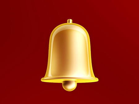 golden bell on red photo