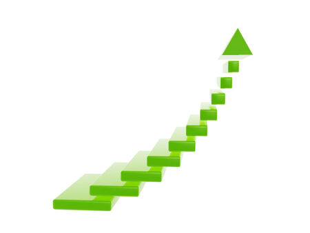 green stair steps grow up arrow isolated on white backgroud photo