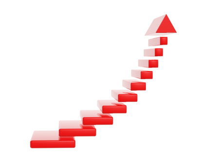 red stair steps grow up arrow isolated on white backgroud photo