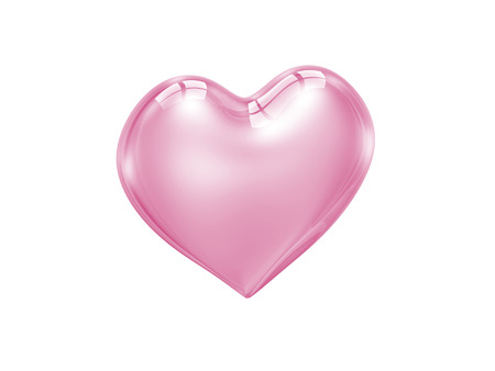 truelove: pink glass heart isolated on white background