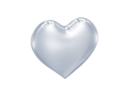 truelove: transparent glass heart isolated on white background