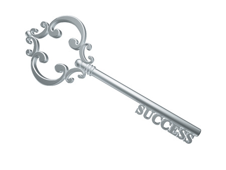 silver key to success isolated on white background photo